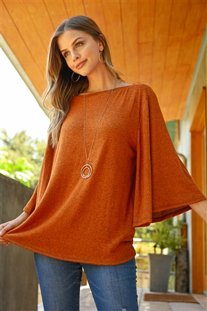 S9-2-4-RFT2037-BHC-NCG - BOAT NECK BELL SLEEVE SOLID HACCI BRUSHED TOP- NEW COGNAC 1-2-2-2