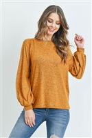 S14-7-3-RFT2038-RSW008-MU-1 - PUFF SLEEVED BOAT NECK TWO TONE BRUSHED HACCI TOP- MUSTARD 0-2-2-2