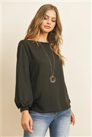 S9-3-2-RFT2038-RSW024-BK - PUFF SLEEVED BOATNECK HACCI TOP- BLACK 1-2-2-2