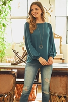 S9-3-2-RFT2038-RSW024-DKTL - PUFF SLEEVED BOATNECK HACCI TOP- DARK TEAL 1-2-2-2