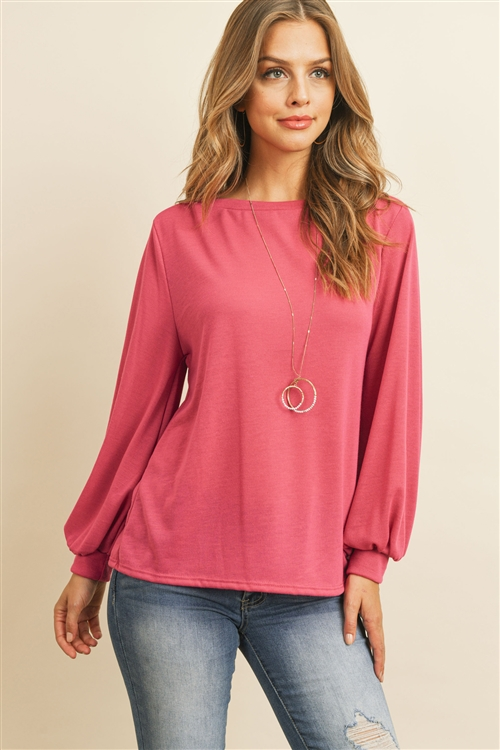 S10-16-3-RFT2038-RSW024-FCH-2 - PUFF SLEEVED BOATNECK HACCI TOP- FUCHSIA 0-0-0-3