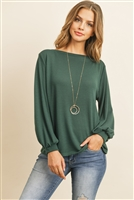 S10-3-3-RFT2038-RSW024-HTGN - PUFF SLEEVED BOATNECK HACCI TOP- HUNTER GREEN 1-2-2-2