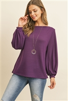 S10-3-3-RFT2038-RSW024-PPL - PUFF SLEEVED BOATNECK HACCI TOP- PURPLE 1-2-2-2