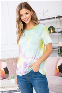 S15-7-2-RFT2041-RTD005-MGYLW-1 - TIE DYE CREW NECK TOP- MAGENTA YELLOW 0-1-3-0