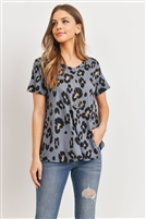 S12-3-2-RFT2051-RAP017-GYCMB - NECK LEOPARD PRINT TOP- GREY/COMBO 1-2-2-2