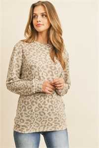 S11-7-4-RFT2052-RAP105-BNTP - LEOPARD PRINT LONG SLEEVE TOP - BONE/TAUPE 1-2-2-2