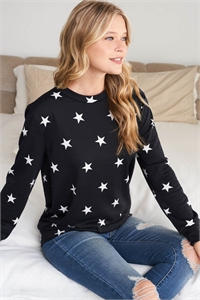 SA4-6-1-RFT2052-RPR029-BK - STAR PRINT LONG SLEEVE PULLOVER - BLACK 1-2-2-2