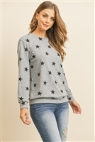 S9-7-1-RFT2052-RPR029-HGBK - STAR PRINT LONG SLEEVE PULLOVER - HEATHER GREY BLACK 1-2-2-2