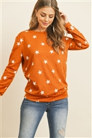 SA3-5-4-RFT2052-RPR029-TRWT - STAR PRINT LONG SLEEVE PULLOVER - TERRACOTA WHITE 1-2-2-2