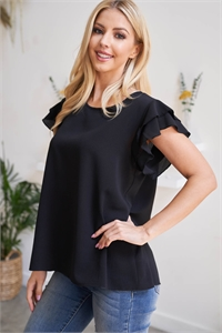 S9-18-1-RFT2063-BC-BK-1 -SOLID RUFFLE BLOUSE-BLACK 0-2-2-0