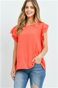 S9-18-1-RFT2063-BC-CO-1 -SOLID RUFFLE BLOUSE-CORAL 0-2-2-2