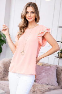 S9-18-1-RFT2063-BC-PCH-1 -SOLID RUFFLE BLOUSE-PEACH 1-1-2-1