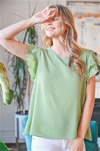 S10-18-3-RFT2063-BC-SG-1 -SOLID RUFFLE BLOUSE-SAGE 1-1-0-0