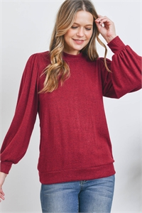 S12-10-3-RFT2065-RSW008-DKRB - PUFF SLEEVE BRUSHED HACCI TOP- DARK RUBY 1-2-2-2