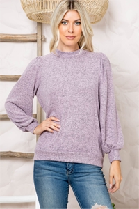 S12-10-3-RFT2065-RSW008-MV - PUFF SLEEVE BRUSHED HACCI TOP- MAUVE 1-2-2-2