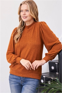 S12-10-3-RFT2065-RSW008-NCGNC - PUFF SLEEVE BRUSHED HACCI TOP- NEW COGNAC 1-2-2-2