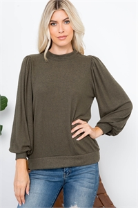 S12-10-3-RFT2065-RSW008-OV - PUFF SLEEVE BRUSHED HACCI TOP- OLIVE 1-2-2-2