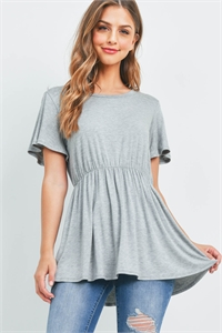 S9-20-1-RFT2070-RSJ-HG-1 - FLUTTER SLEEVE EMPIRE TOP- HEATHER GREY 0-0-0-2