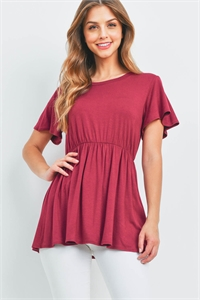 S9-20-1-RFT2070-RSJ-MRN-1 - FLUTTER SLEEVE EMPIRE TOP- MAROON 1-2-0-1
