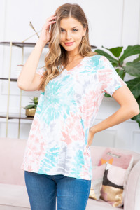 S9-17-1-RFT2071SS-RTD014-CRLTQ CORAL TURQUIOSE EVERYDAY TIE DYE V-NECK TOP 1-2-2-2