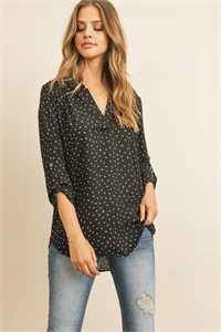 S5-1-3-RFT2075-RPR013-BK - TAB SLEEVE TRIANGLE PRINT BLOUSE- BLACK 1-2-2-2