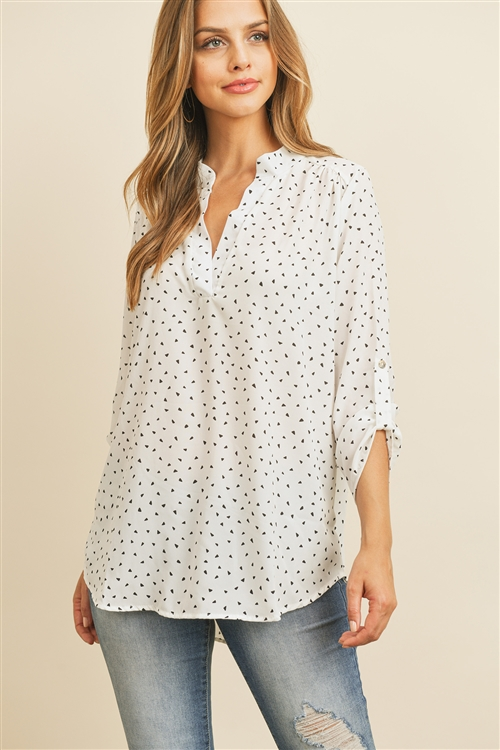 S11-14-3-RFT2075-RPR013-IV - TAB SLEEVE TRIANGLE PRINT BLOUSE- IVORY 1-2-2-2