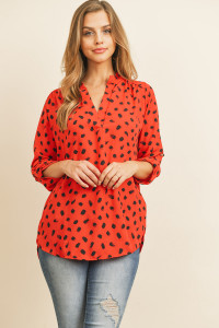 S16-2-1-RFT2075-RPR024-RD - TAB SLEEVED PRINT BLOUSE- RED 1-2-2-2