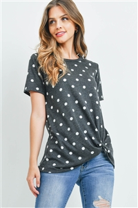 S8-11-3-RFT2079-RPD009-BKWT - POLKA DOT KNOT TOP- BLACK/WHITE 2-2-2