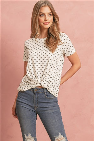 S14-7-4-RFT2079-RPD016-IV-1 - POLKA DOT KNOT TOP- IVORY 2-2-2