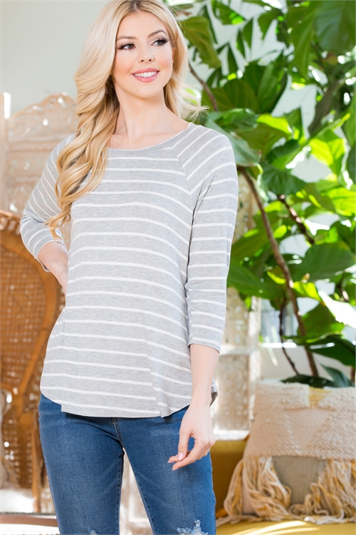 S10-15-1-RFT2080QS-RS006-HGIV-1 - QUARTER SLEEVES STRIPE TOP- HEATHER GREY/IVORY 3-0-0-0