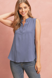 S14-7-4-RFT2100-BC-DNM-1 - BUBBLE CREPE SLEEVELESS BLOUSE- DENIM 1-0-2-1