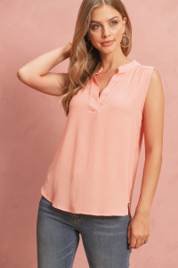 S14-7-4-RFT2100-BC-PCH-1 - BUBBLE CREPE SLEEVELESS BLOUSE- PEACH 2-3-0-0