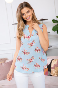 S9-20-3-RFT2100-RFL022-BL-1 - FLORAL SLEEVELESS BLOUSE- BLUE 2-2-1-2
