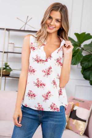 S9-7-2-RFT2100-RFL022-IV IVORY FLORAL SLEEVELESS BLOUSE TOP 1-2-2-2