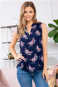 S14-10-3-RFT2100-RFL022-NV-3 - FLORAL SLEEVELESS BLOUSE- NAVY 0-3-0-0