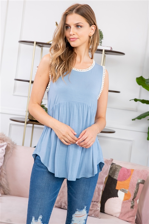 S14-8-3-RFT2103-RSJ-ICBL-1 - POMPOM DETAIL SLEEVELESS EMPIRE TUNIC- ICEBLUE 2-2-2
