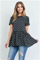 S12-2-2-RFT2113-RPD020-BK - POLKA DOTS RUFFLED HEM TOP- BLACK 1-2-2-2