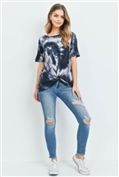 S15-11-3-RFT2123-RTD007-BKIV - TIE DYE SHORT SLEEVES KNOT TOP- BLACK/IVORY 0-2-2-2