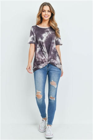 S15-11-3-RFT2123-RTD007-MCSTN - TIE DYE SHORT SLEEVES KNOT TOP- MOCHA/STONE 0-2-2-2