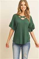 S10-19-4-RFT2172-WF-THNTR-1 - CRISS CROSS FLUTTER SLEEVE WAFFLE TOP- TRUE HUNTER 4-1-1