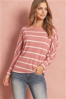 S9-8-3-RFT2175-RS017-MVWT - BRUSHED HACCI STRIPE DOLMAN TOP- MAUVE/WHITE 1-2-2-2