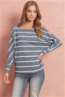 S9-8-3-RFT2175-RS017-TLWT - BRUSHED HACCI STRIPE DOLMAN TOP- TEAL/WHITE 1-2-2-2