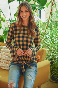 S16-3-1-RFT2184-RPL021-TPBK - TIE FRONT BELL SLEEVE PLAID TOP- TAUPE/BLACK 1-2-2-2