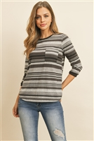 SA4-4-1-RFT2185-RS028-CHLGYBK - 3/4 SLEEVED MULTICOLOR STRIPE RIB DETAIL POCKET TOP- CHARCOAL/GREY/BLACK 1-2-2-2