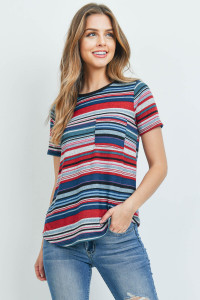 C62-A-2-RFT2185-RS028SS-BKTLPK - SHORT SLEEVE MULTICOLOR STRIPE RIB POCKET TOP- BLACK/TEAL/PINK 1-2-2-2
