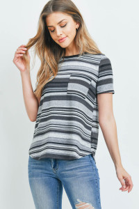 C60-A-3-RFT2185-RS028SS-CHLGYBK - SHORT SLEEVE MULTICOLOR STRIPE RIB POCKET TOP- CHARCOAL/GREY/BLACK 1-2-2-2
