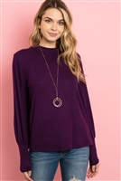 S11-12-3-RFT2187-RSW008-EP - PUFF SLEEVE MOCK NECK TOP- EGGPLANT 1-2-2-2