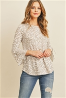 S20-11-3-RFT2189-RAP098-BNTP - BELL SLEEVE RIBBON DETAIL ROUND NECK LEOPARD TOP- BONE TAUPE 1-2-2-2