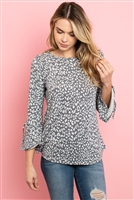S10-2-3-RFT2189-RAP098-DKGYOTM - BELL SLEEVE RIBBON DETAIL ROUND NECK LEOPARD TOP- DARK GREY/OATMEAL 1-2-2-2