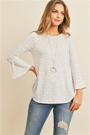 S10-2-3-RFT2189-RAP098-OFWPGY - BELL SLEEVE RIBBON DETAIL ROUND NECK LEOPARD TOP- OFF-WHITE/PALE GREY 1-2-2-2